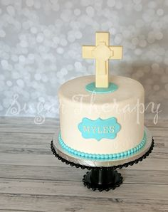 Small Christening cake for baby boy by Sugar Therapy.