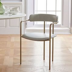 Lenox Dining Chair, Leather, Cement, Blackened Brass