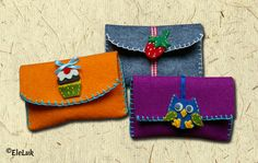 Felt Phone Cases, Felt Case, Wallet With Coin Pocket, Coin Purse Wallet, Felt Gifts, Leather Diy Crafts, Felt Embroidery, Diy Purse, Diy Home Crafts