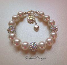Flower Girl bracelet Disco Ball Bracelet Baptism by JewlesDesigns, $39.00