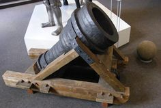 Wrought iron mortar /bombard at Stadtmuseum, Cologne, Germany, said to be from 1377.
