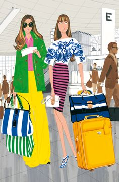 Don't buy boring black luggage. You want to stand out in the crowd of black, pick a bright color that inspires you.  Fashion Illustration by Jordi Labanda