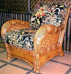 Armchair with Wicker Frame (Yvonne Aloe (All Weather)). Fabric: Yvonne Aloe (All Weather). Solid Wicker Construction. Cinnamon Finish. For indoor, or covered patio use only. Includes cushions.