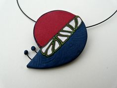 Contemporary pendants in red green and by ColoursofPaysCathare