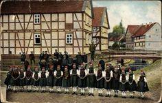 Ansichtskarte / Postkarte Gruß aus Hessen, Schwälmer Trachten, Mädchen #Schwalm