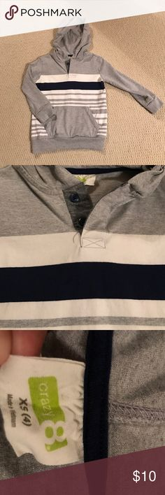 Pullover sweatshirt Light grey pullover with white & thick navy stripe. Crazy 8 brand. Size 4T. Roomy fit! Pocket in front. Not lined. Worn once. Excellent condition! Shirts & Tops Sweatshirts & Hoodies