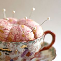Pink Pincushion in a Vintage Chinese Teacup by petitelegume