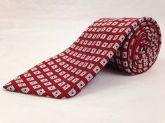 BROOKS BROTHERS 58L Mens Neck Tie 346 Red Silver Geometric 100% Silk Made in USA #BrooksBrothers #NeckTies #Ties