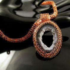 wire knit necklace with geode agate druzy by catswire on zibbet awesome