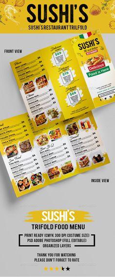 Buy Sushi's Italian Restaurant Trifold by ichoomi on GraphicRiver. Food Menu Sushi's Italian Restaurant Trifold Size + Bleed area PSD File CMYK 300 dpi Full Editable . Food Menu Template, Restaurant Menu Template, Restaurant Menu Design, Menu Templates, Print Templates, Pizza Menu Design, Food Menu Design, Japanese Restaurant Menu, Beef Sushi