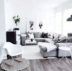 35 Scandinavian Living Room Design for Best Home Decoration Home Living Room, Interior Design Living Room, Living Room Designs, Living Room Decor, Interior Livingroom, Apartment Living, Living Room Inspiration, Home Decor Inspiration, Black And White Living Room