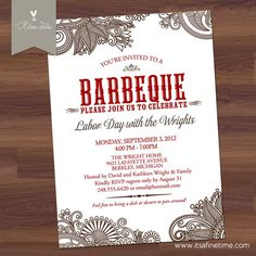 Free Printable Dinner Party Invitations Printable Party Invitation Digital Pdf Barbeque Bbq Card Holiday .