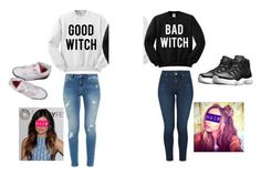 """good twin bad twin"" by uainbowunicorn on Polyvore featuring Ted Baker, J Brand and NIKE"