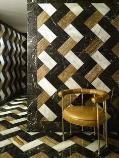 Brown, Black, and White Vertical Chevron Pattern Tiles. Marble and Quartz, by Kelly Wearstler Interior Design. Floor Design, Tile Design, House Design, Design Design, Design Trends, Modern Entryway, Entryway Decor, Floor Patterns, Tile Patterns