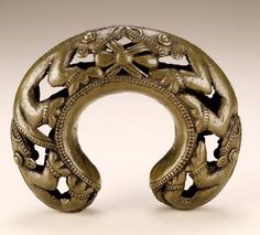 Africa | Copper alloy bracelet with leopards and spiders, from the Bamum people of Cameroon | ca. late 19th to early 20th century.