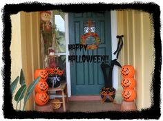 diy decorating on a budget...3 pumpkins hot glue together and sit on some backyard planters. Dollar store black bucket, a pool noodle cut in half for witches legs, pair of tights from my daughter, cut out witches shoes from cardboard, hot glue black material over, add bow etc. Old broom and some ribbon.Wreath made from dollar store leaves...fun weekend projects that won't cost an arm and a witches leg!:)))))