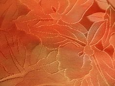 Vintage Kimono Silk Fabric Shades of Orange Woven by SilkHouse