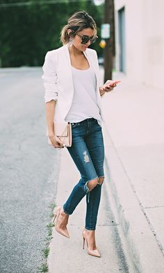 white blazer & distressed denim - hello fashion