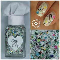 """atlcatsmeow #lynnderella LE Chef Kitty is made with assorted white and grey glitters with a side multiglitter in a clear white-shimmered base. Chef takes an """"everything but the kitchen sink"""" approach to cuisine, so expect the unexpected. Shown over #opi Funny Bunny"""