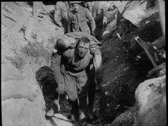 Wounded carried from the trenches during the Battle of Somme (France 1916, WWI)
