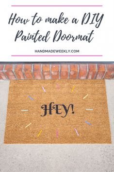 How to make a DIY painted Doormat using Ikea Trampa Porch Mat, Front Porch, Paint Line, Easy Diy Projects, Outdoor Projects, Craft Projects, Minimal Decor, Painted Doors, Cool Paintings