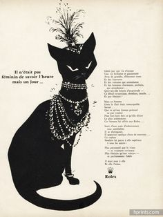 1959 Rolex Jewels and watches vintage advert with cat
