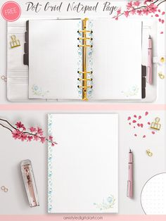 Blue flower Dot Grid Printable Notes Notepad Pages - My favourite notepad type is the dot grid notes as I like bullet journaling and I love nice stylish stationery so I have designed this floral page for you (and for me) – you can download it from the link below. I feel more effective in my work and around the house when I use nice dotted paper in my Clipbook. And what about you?  The zip pack includes pdf files for A4, A5 and US letter size with both right and left binding edges.