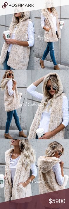 Sherpa hoodie vest Beige or gray super soft and comfy sherpa hooded vest. have pockets. fully lined. beige or gray to choose from. 100% polyester.lining is rayon& spandex Boutique Jackets & Coats Vests