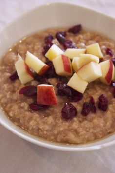 Healthy Breakfast Oatmeal with Nuts and Fruit