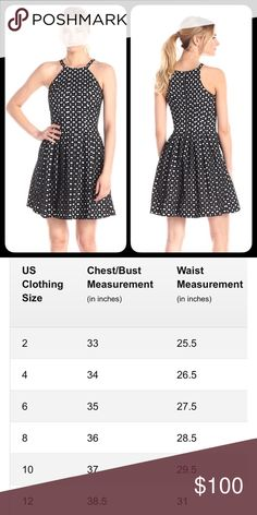 Vince Camuto Fit and Flare Vince and Camuto black and white eyelet dress.  NWT!  Fabulous dress and high quality.  Please see size chart for measurement of size.  Size chart is from the designer.  Even has pockets! Vince Camuto Dresses Mini