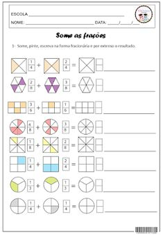 Discover thousands of images about Writing Equivalent Fractions Using Pie Model Math Games, Math Activities, Math Fractions Worksheets, Math Exercises, Math School, 4th Grade Math, Math For Kids, Math Classroom, Math Lessons