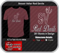 SV Red Devils School mock up  Glitter and Bling $20 for sizes up to xlarge $22 for sizes 2Xlarge and BIgger