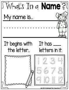 Kindergarten Activities: Back to School Galore: writing, getting to know me. Kindergarten Names, Preschool Names, Kindergarten Readiness, Preschool Learning, Kindergarten Classroom, Preschool Activities, Kindergarten Projects, First Days Of Kindergarten, Worksheets For Preschoolers