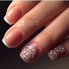 Amazing nails, Delicate wedding nails, Elegant nails, Festive nails with a picture, Medium nails, Nails with rhinestones ideas, Original wedding nails, Party nails