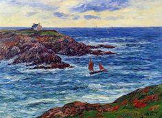 Voiliers au large de la Côte d Douelian, huile sur toile de Henri Moret (1856-1913, France)