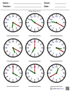 Telling Time on a Clock - A huge variety of worksheets that you can generate based on what you're teaching. Time Worksheets Grade 3, Maths Worksheets Ks2, Clock Worksheets, Free Printable Math Worksheets, French Worksheets, Free Printables, Teaching Clock, Teaching Time, Teaching Art
