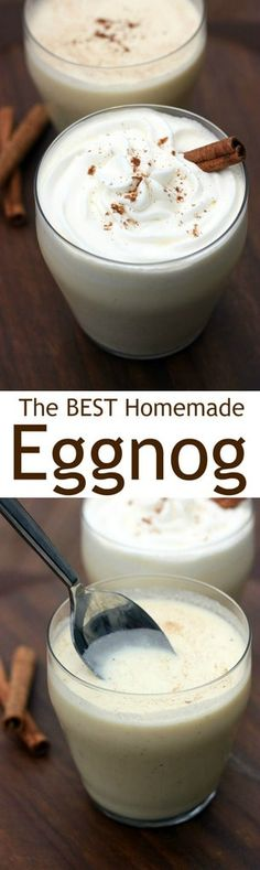 The BEST Homemade Egg Nog recipe! Thick and creamy with the perfect mild flavor and hint of nutmeg. You'll never buy store-bought eggnog again!  | tastesbetterfromscratch.com via @betrfromscratch