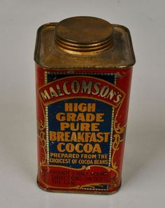 Very Rare 1910  MALCOMSON'S  BREAKFAST COCOA Tin - Chicago - J.L. Clark Mfg. Co. #MALCOMSONS