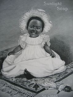 Antique Black Americana Negro Print Girl Baby and Doll Sunlight Soap from victorianroseprints on Ruby Lane