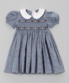 Dark Chambray Floral Smocked Dress (Can I get a grown-up dress with some smocking? Fashion Kids, Little Girl Dresses, Girls Dresses, Toddler Girl Outfits, Toddler Girls, Embroidered Clothes, Smock Dress, Dress Patterns, Sewing Patterns