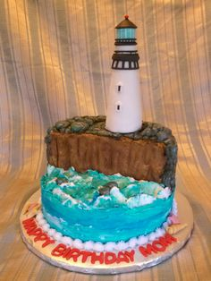 Lighthouse Birthday Cake All Butter Cream Except The Lighthouse Which Is Rkt Covered In Fondant