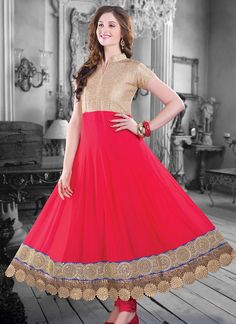 Mesmerizing red ankle length anarkali suit
