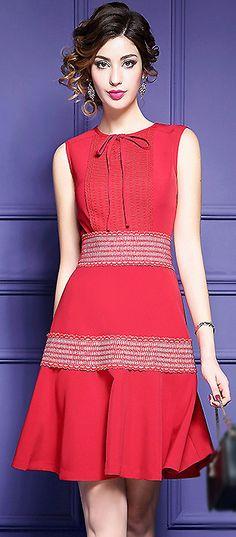Fashion O-Neck Falbala Pure Color A-Line Dress