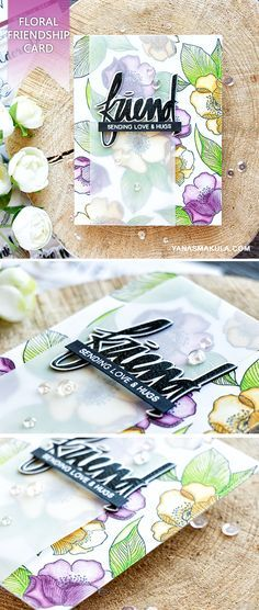 Create a beautiful floral friendship card using Altenew Adore You & Super Script stamp sets. For details, please visit http://www.yanasmakula.com/?p=56117