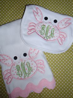 Crabby Crab Monogrammed Girl Bib & Burp Set by liseylu on Etsy. $20.00, via Etsy.