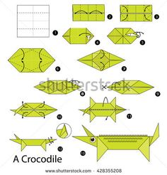Step by step instructions how to make origami A Crocodile. Origami Guide, Diy Paper, Paper Crafts, How To Make Origami, Oragami, Step By Step Instructions, Shadow Box, Royalty Free Images, Kids Rugs