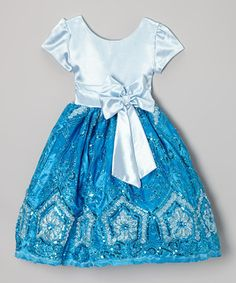 Look what I found on #zulily! Blue Sequin Bow A-Line Dress - Infant, Toddler & Girls by Kid Fashion #zulilyfinds