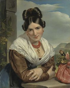 Jan Adam Kruseman | A young Girl Reposing, Jan Adam Kruseman, 1827 | Studie van jonge vrouw, glimlachend voorovergeleund met de armen op een stenen balustrade. Rechts een bundel met een fles wijn, in een doek geknoopt.