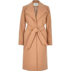 River Island Camel double collar robe coat ($105) ❤ liked on Polyvore featuring outerwear, coats, cream, red coat, wrap coat, red waist belt, long sleeve coat and waist belts