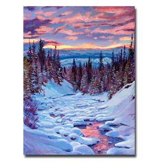 This ready to hang, gallery-wrapped art piece features a snow covered river. David Lloyd Glover has a 25 year internation reputation exhibiting in major galleries in the US, Canada, Mexico and Japan.